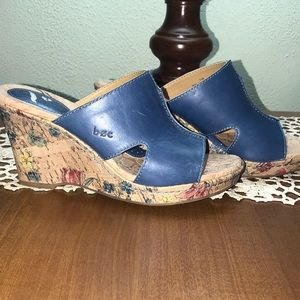b.o.c. By Born Blue Leather Floral Cork Wedge Sz 7